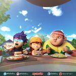Fang, BoBoiBoy and Gopal eating