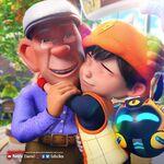 BoBoiBoy hugging Tok Aba