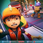 BoBoiBoy scared with biscuit Yaya