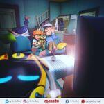 BoBoiBoy, Cattus and Tok Aba watch horror movie