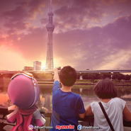Yaya looking Tokyo Skytree with her friends
