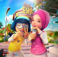 Yaya and Ying drinking ice chocolate