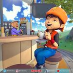 BoBoiBoy relaxing with drinking