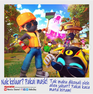 BoBoiBoy and his friends wearing sunglasses