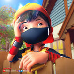 BoBoiBoy waiting for Foodpapa to arrive