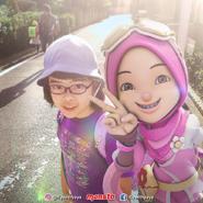 Yaya sending Yukiji-chan to school
