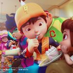 BoBoiBoy and friends eating cake