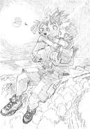 Izuku with Mahoro and Katsuma Sketch