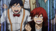 Tenya and Eijiro cheer for All Might.png