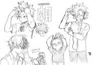 Boceto de los chicos de la clase 1-a en la mañana