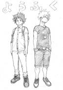 Boceto de Deku y Bakugo en otoño