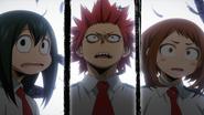 Ochaco, Tsuyu and Eijiro in shock