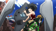 Momo, Toru and Tsuyu shielded from the attack