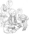 Eijiro and Denki with Mahoro and Katsuma Sketch