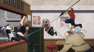 Himiko uses her Blood Sucking Machine on the MLA soldiers