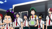 Class 1-A arrives at the exam center