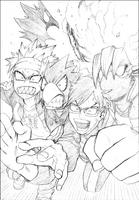 Tenya, Eijiro, Fumikage y Mezo corriendo - 5ta novela ligera
