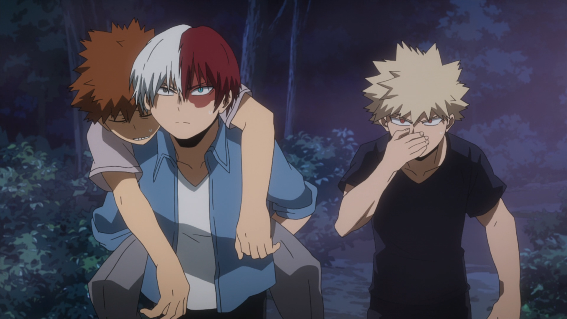 Shoto and Katsuki walk through the forest.png