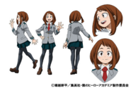 Ochaco Uraraka School Uniform TV Animation Design Sheet