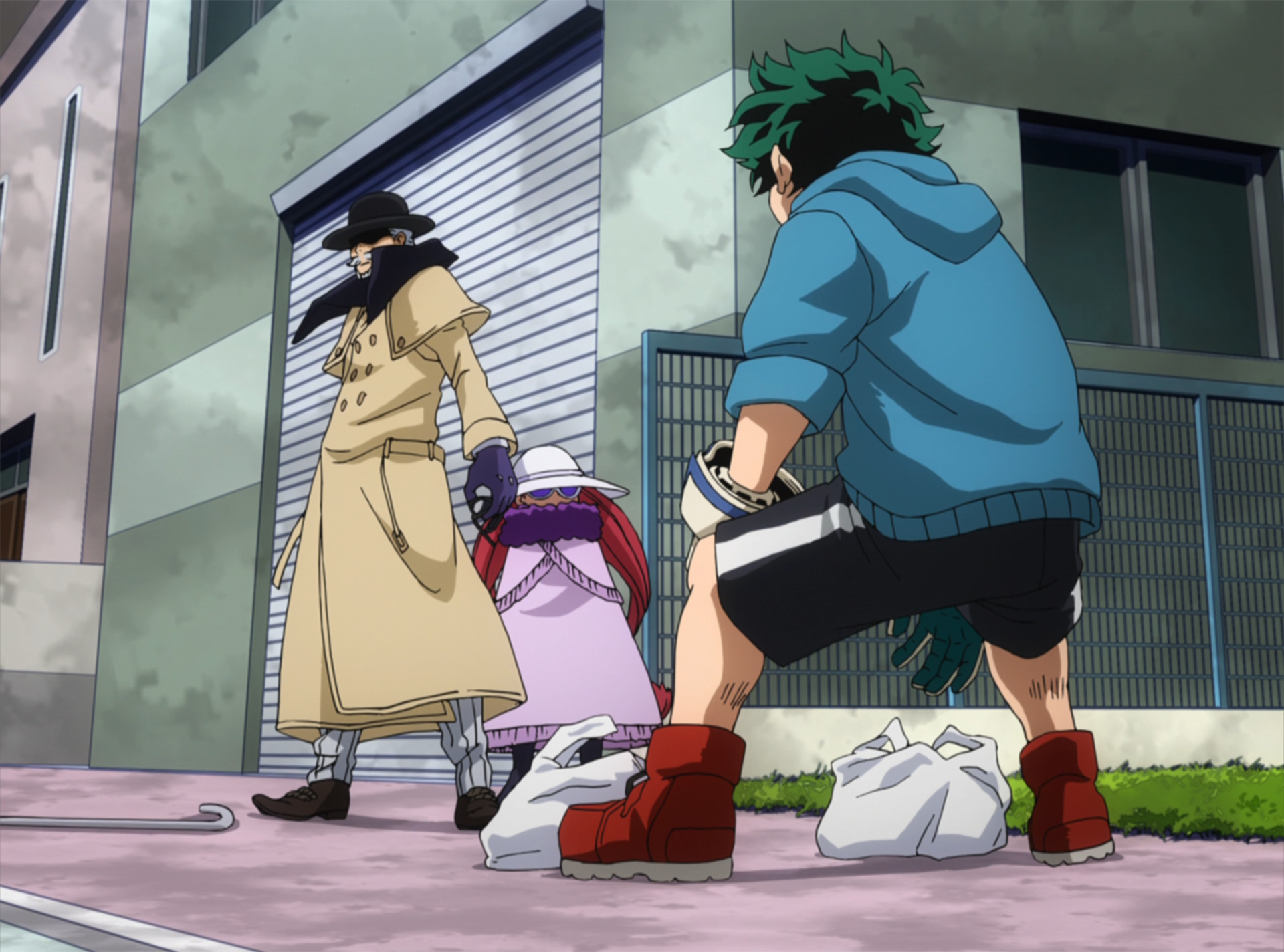 Izuku gets ready to engage in combat with Gentle Criminal.png