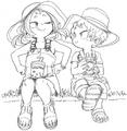 Mahoro and Katsuma Sketch