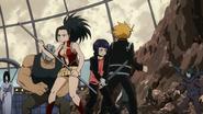 Momo, Denki, and Kyoka vs. villains