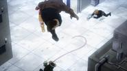 Jurota dodges Tsuyu and Denki's attacks