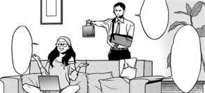 Naomasa gives All Might's gifts to Makoto.png