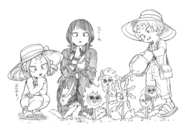 Kyoka with Mahoro and Katsuma sketch