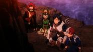 Tenya, Eijiro, Tsuyu and Shoto take refuge