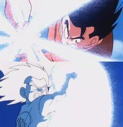 En Goku fent un Kamehameha Doblegat