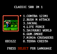 Classic Games 500-in-1 Menu