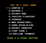 245-in-1 Real Game menu