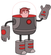 Danny in space suit helmet lights on