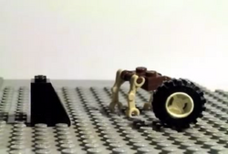 The robot and the wheel observe the block