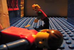 The LEGO minifigure lays waste