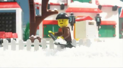 At first, Bruce enjoys shoveling the snow