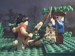 The woman battles a pirate skeleton