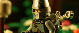 The sight of a skeleton gives the knight pause