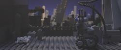 The robot surveys the destruction