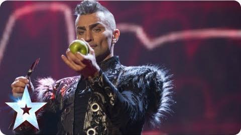 Menacing Aaron Crow shoots an apple off Dec's head! Semi-Final 1 Britain's Got Talent 2013