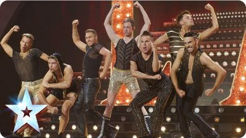 The Glambassador's camp high kicking dance routine Semi-Final 5 Britain's Got Talent 2013