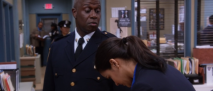 Amy embarrassed in front of Holt