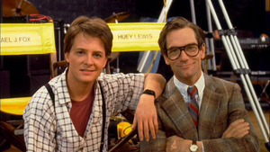 Michael and Huey on the set of Back to the Future.png