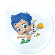 Bubble Puppy and Gil in a bubble