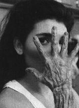 Inca mummy girl hand behind the scenes