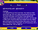 Window of Marvelous Monkey giving instructions on the Jungle Ruins quest.