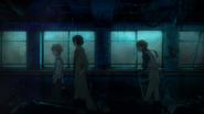 Dazai, Kunikida, and Atsushi investigating the abandoned hospital