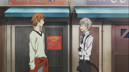 Atsushi meeting up with Tanizaki at the accident scene