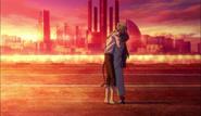 Atsushi hugs Kyōka after the Guild war